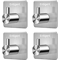 Entligent Self Adhesive Hooks, [4 Pack] Premium 304 Stainless Steel 3M Adhesive Wall Hanger for Kitchen, Bathrooms, Office, Closet, etc. Waterproof, Rustproof and Oilproof