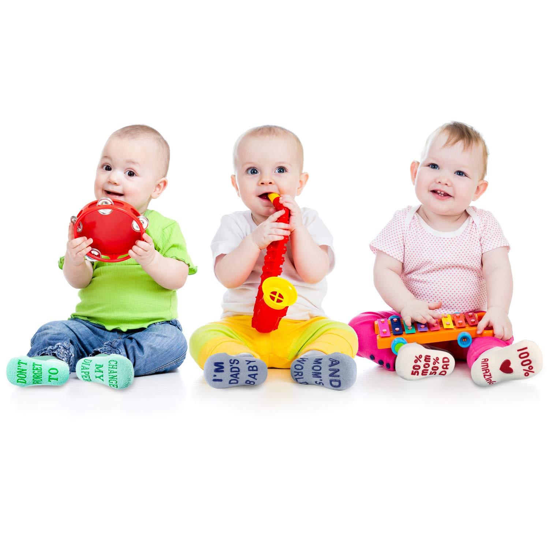 Blulu Juego de Regalo 6 Pares de Calcetines de Bebé Antidesliznates Regalo de Fiesta de Bienvenida a Bebé Regalo de Bebé Unisex Recién Nacido 3-12 Meses: ...