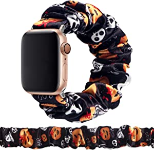 MITERV Compatible with Apple Watch Band 38mm 40mm Soft Floral Fabric Elastic Scrunchies iWatch Bands for Apple Watch Series 6,SE,5,4,3,2,1 38mm/40mm Halloween Pumpkin L