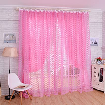 Aspiredeal Elegant Sheer Valance Tulle Voile Window Door Wall Home Rose Pattern Curtain Pink