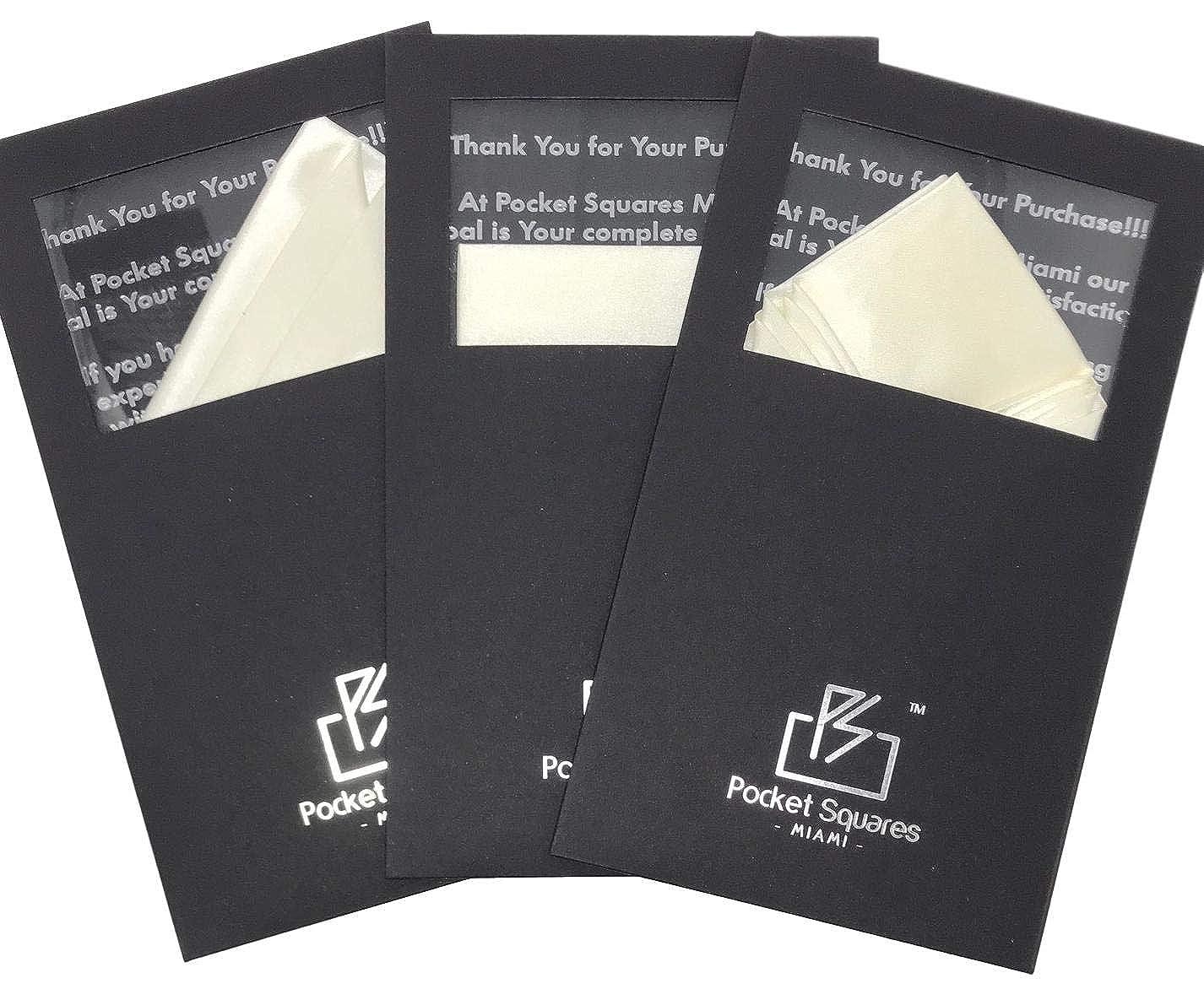 Pocket Squares Miami Pre Folded Pocket Square I 3 Piece Value Bundle-Cream Collection