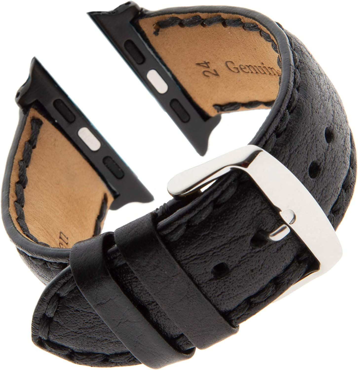 Gilden Heavily Stitched Distressed Leather Calfskin Watch Band PS52-SMART, fits Apple Apple Watch