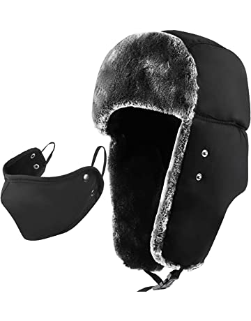 8e2c7483e0a mysuntown Winter Trapper Warm Hat with Windproof Mask 2 Pieces Ushanka  Russian Style Hat for Men