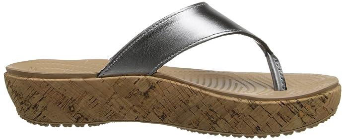 489c3167e01d crocs Womens Women s A-Leigh Metallic Leather Flip Flop