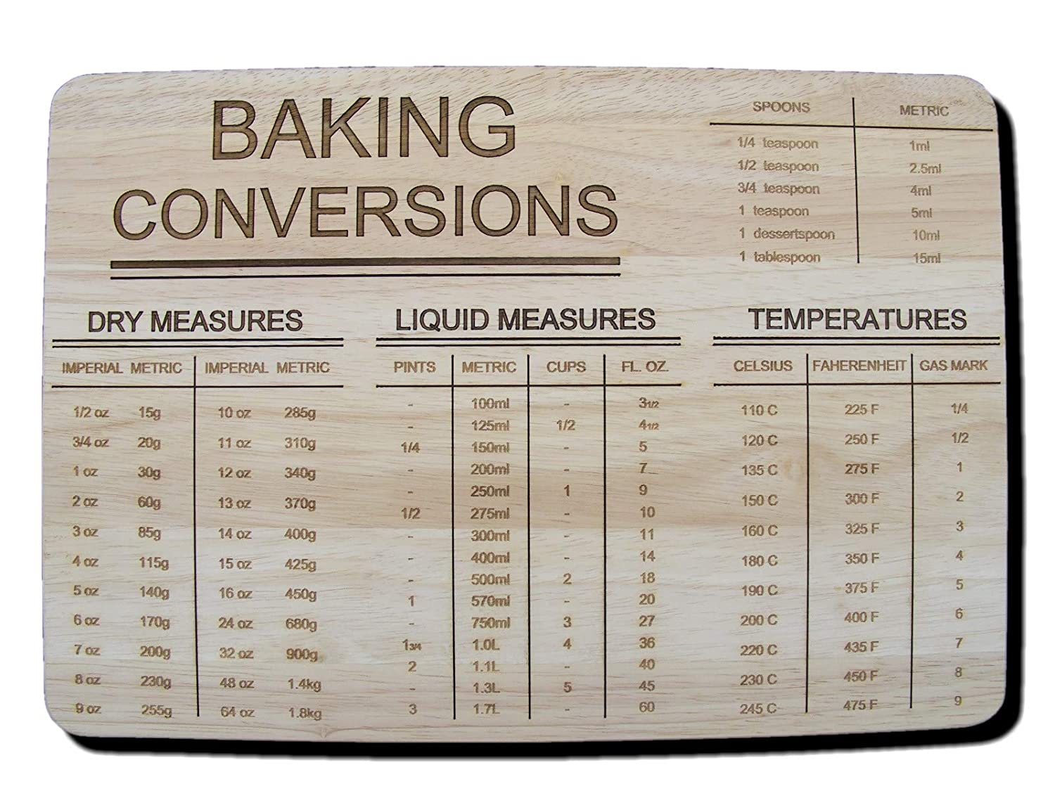 BAKING CONVERSION GIFT IDEA PREMIUM HARDWOOD WOODEN CHOPPING CUTTING CHEESE BOARD PLACE MAT DINNER ENGRAVED WOODEN MEASURES WOOD KITCHEN CONVERSIONS COOKING BAKING BIRTHDAY PRESENT WEDDING LASER ENGRAVED by FASTCRAFT UK (Premium Hardwood 35x24x1.5 cm)