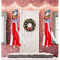 Amandir 2 Pack 40 Inch Christmas Decoration Windsock Flag, Outdoor Christmas Hanging Decorations Flag Christmas Banner…