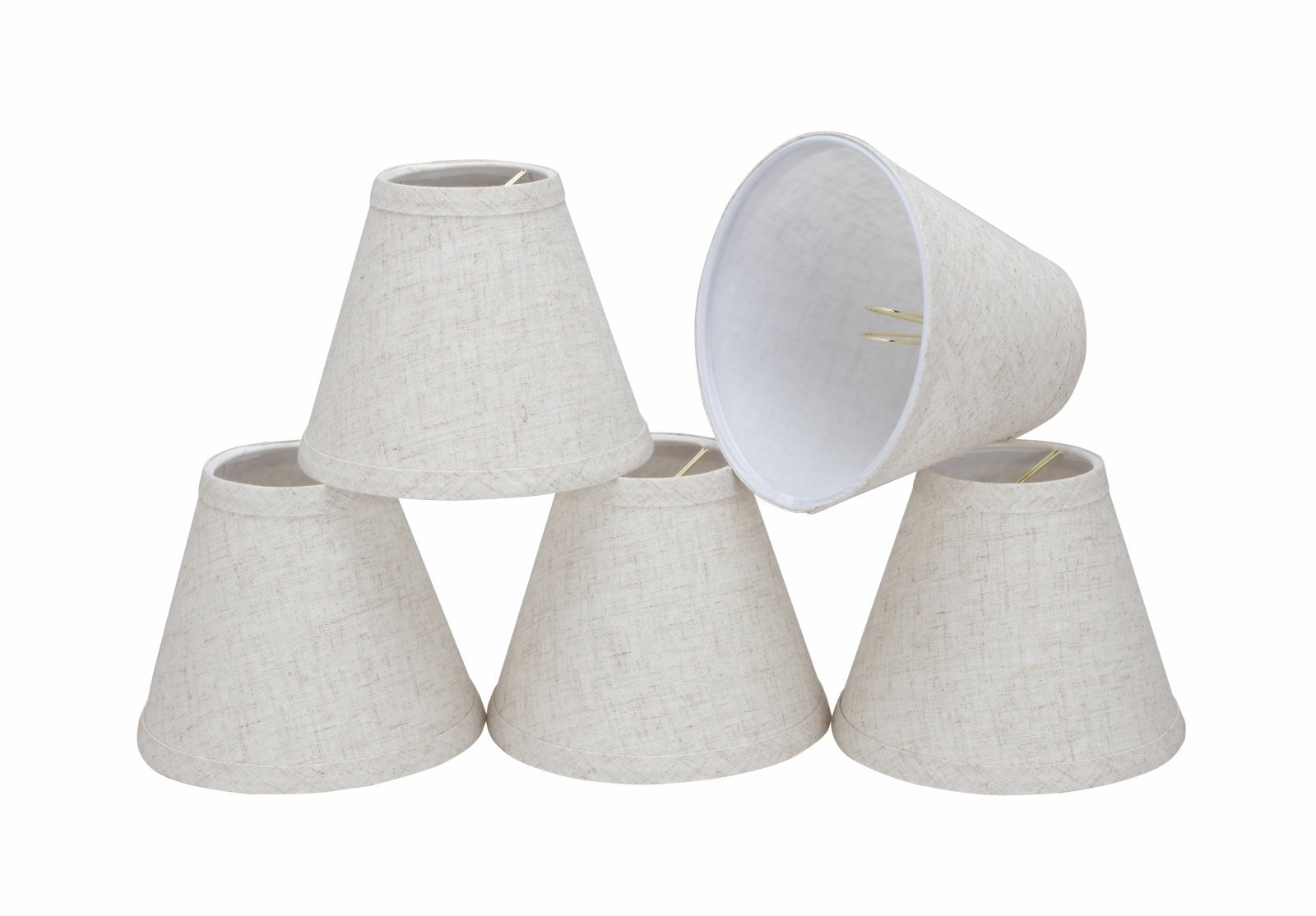 32106-5 Small Hardback Empire Shape Chandelier Clip-On Lamp Shade Set (5 Pack), Transitional Design in Flaxen, 6'' bottom width (3'' x 6'' x 5'')