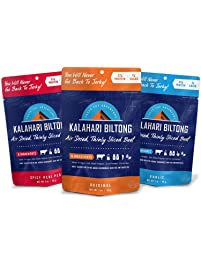 Kalahari Biltong | Air-Dried Thinly Sliced Beef | Variety Pack | 2oz | Zero Sugar | Keto & Paleo | Gluten Free | Better...