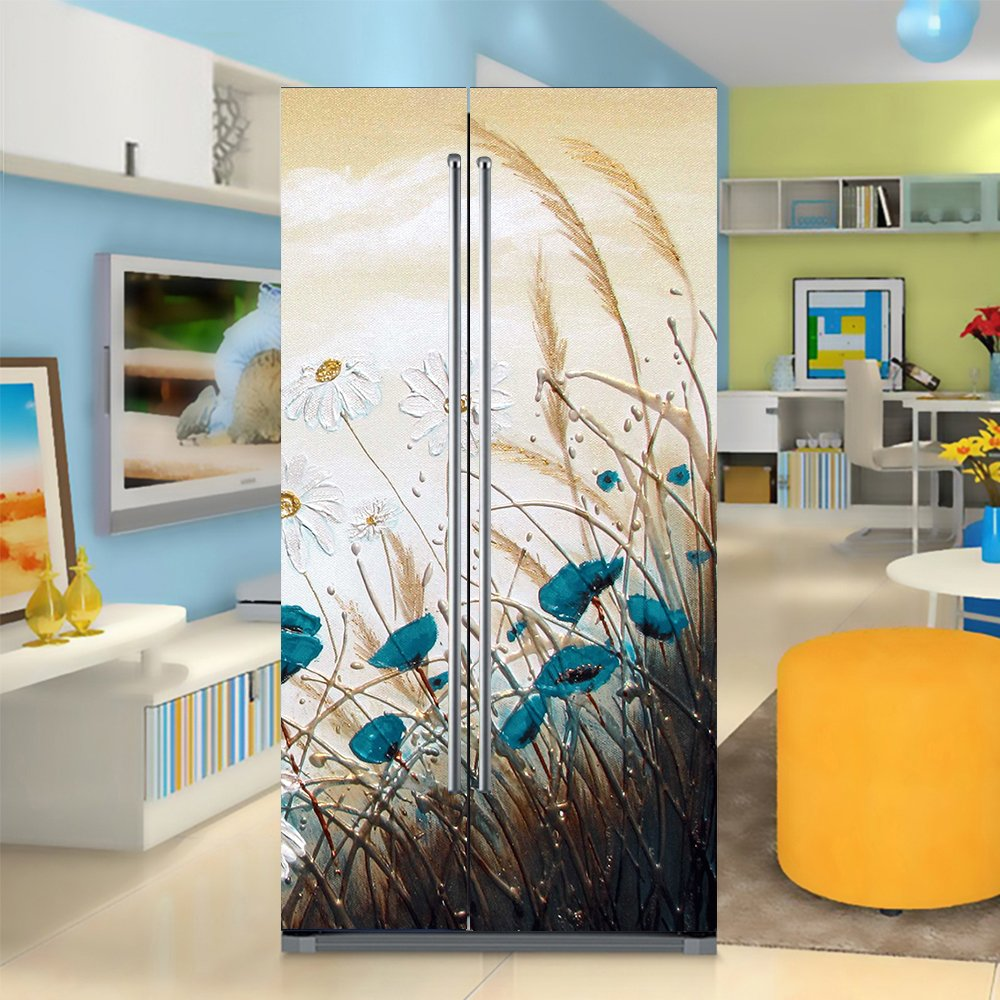 yazi Side-by-side Refrigerator Full Door Cover Decal Vinyl Removable Sticker Kitchen Art Décor Blue Flower 20x71 inches by 2 pieces