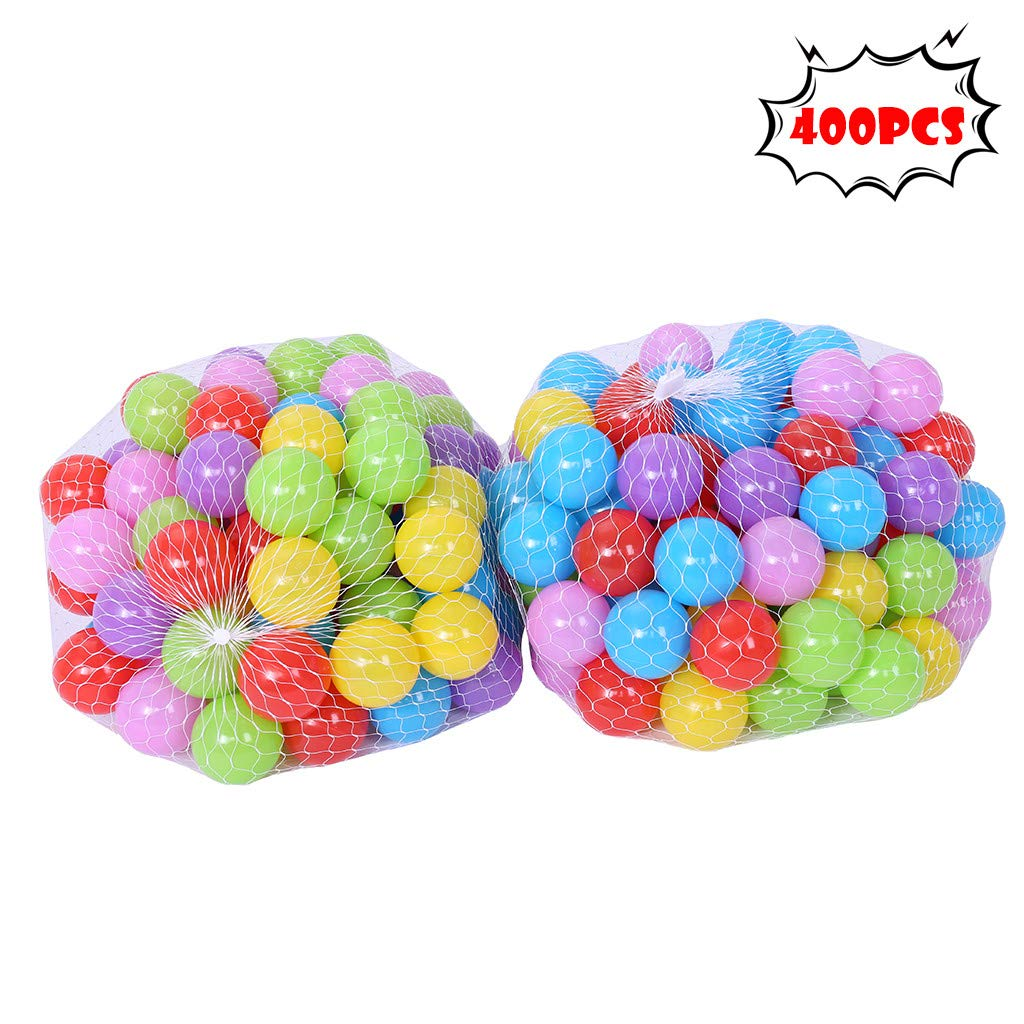 Really Go-us Direct 400 Pcs Ocean Balls & Pit Balls Soft Plastic Phthalate & Bpa Free Crush Proof - Reusable and Durable Storage Mesh Bag with Zipper for Filling Any Ball Pit, Tent, Kiddie