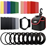 Rangers 12pcs Solid ND + Color Filter Kit (ND2, ND4, ND8, ND16, Red, Green, Blue, Yellow, Brown, Orange, Purple, Pink Filters, Optics) + 9 Filter Adaptors Ring (49-82mm) + Carrying Pouch RA110