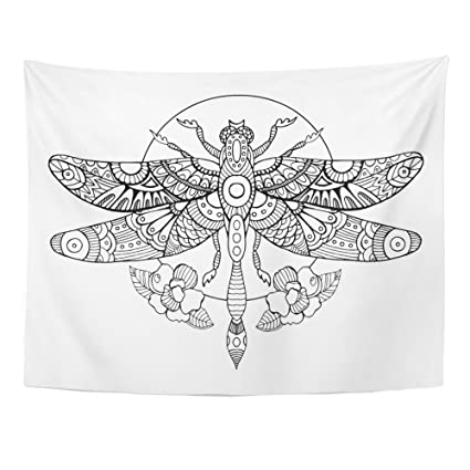 6ee0978da Emvency 60x80 Inch Tapestry Mandala Home Decor Dragonfly Coloring Book For  Adults Anti Stress For Tattoo