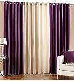 Luxury Homes Modern Polyester Long Crush 3 Piece Curtain Set - (2 Purple 1 Cream) - 5ft