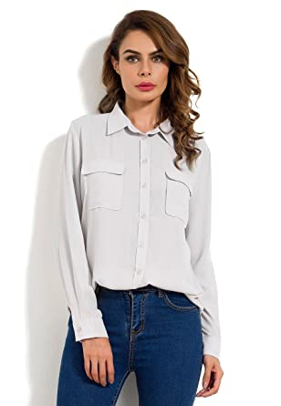 4ecdb6fbeeb4b Amazon.com  MRLZ Women s Casual Loose Button Down Blouse with Pockets Long  Sleeve Chiffon Shirt  Clothing
