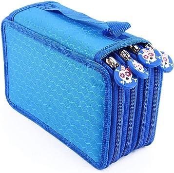 Estuche para lápices con 72 ranuras, multifunción, gran capacidad, portabolígrafos, bolsillo, lápices de colorear, funda organizadora, bolsa de papelería para estudiantes y artistas, azul: Amazon.es: Bricolaje y herramientas
