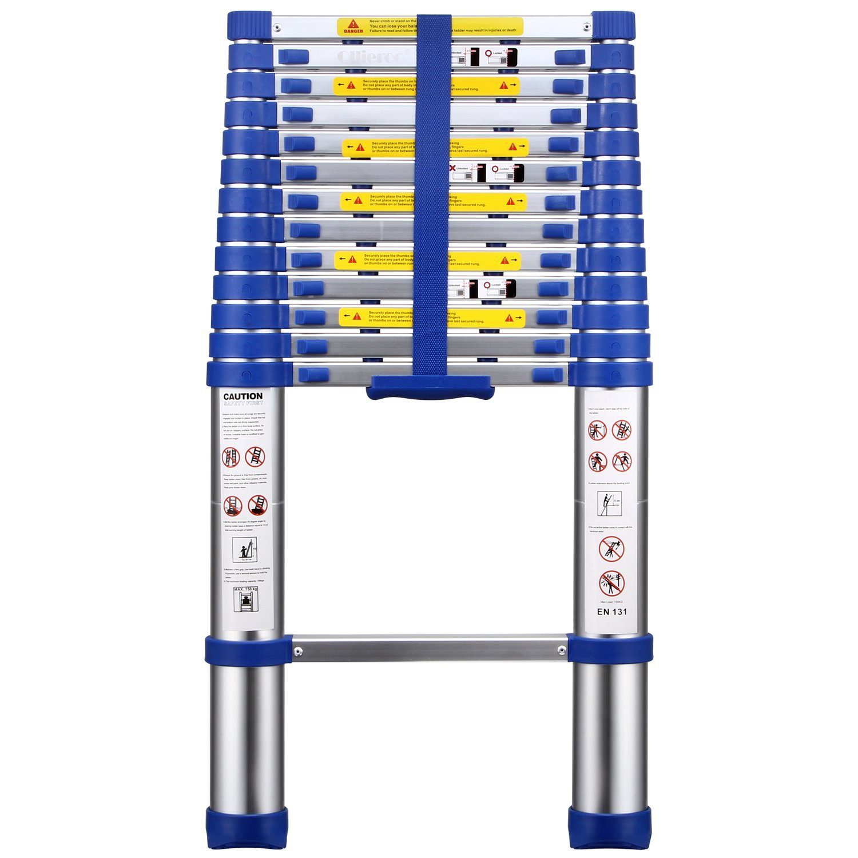 OLLIEROO TL03124 EN131 Aluminum Telescopic Extension Ladder with Spring loaded Locking Mechanism Non-Slip Ribbing 330lb. Capacity, 13.5ft, Blue