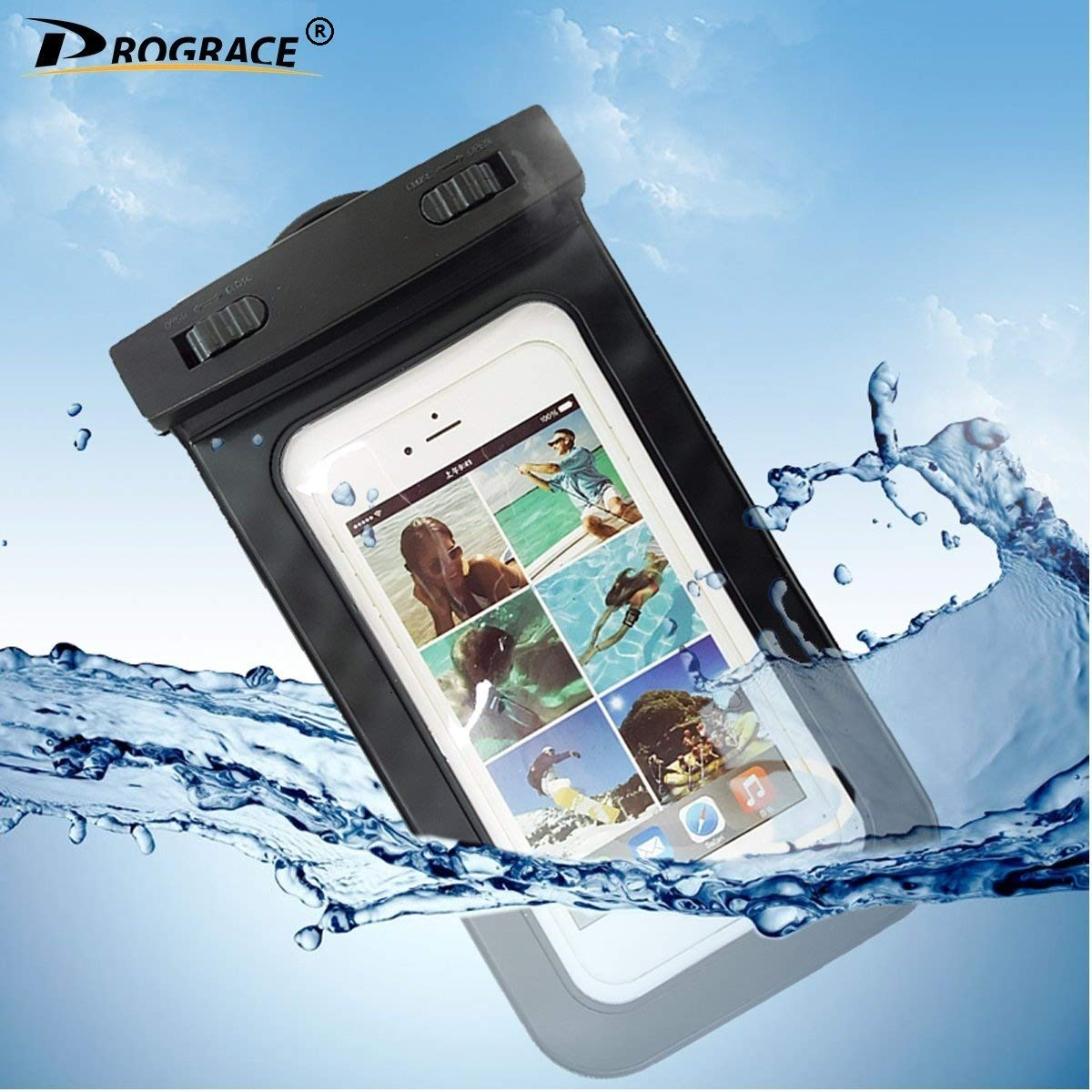 PROGRACE Waterproof Case Cellphone Dry Bag for Apple iPhone 6S 6, 6S Plus, SE 5S 7, Samsung Galaxy S7, S6 Note 5 4, HTC LG Sony Nokia Motorola up to 6.0'' Diagonal (Black) by PROGRACE