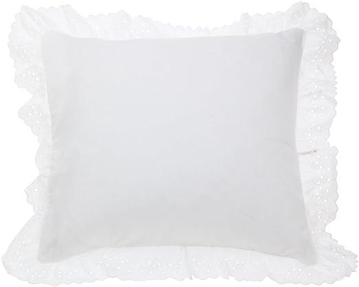 amazoncom fresh ideas eyelet ruffled pillow sham euro white home u0026 kitchen