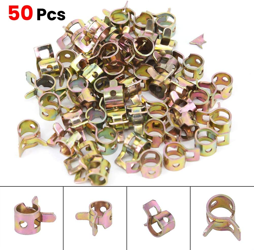 JUST N1 50pcs Spring Band Type Clamp 1//4 6mm Steel Action Fuel Oil Line Pipe Tube Rubber Vacuum Hose Fasteners Assortment Tool Kit