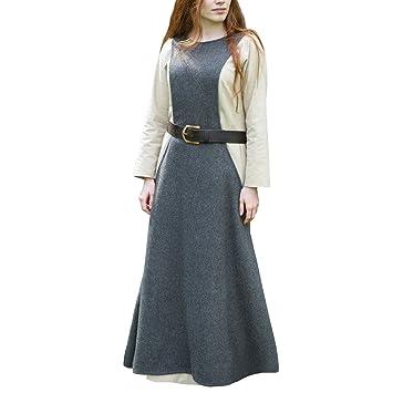 39e83d6647c Robe chasuble médiévale accessoire d habillement laine pour dame gris - L