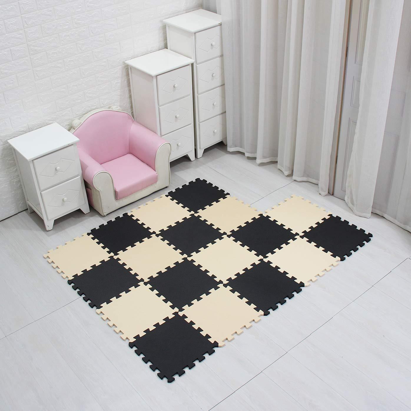 MQIAOHAM Children Puzzle mat Play mat Squares Play mat Tiles Baby mats for Floor Puzzle mat Soft Play mats Girl playmat Carpet Interlocking Foam Floor mats for Baby Black Beige 104110