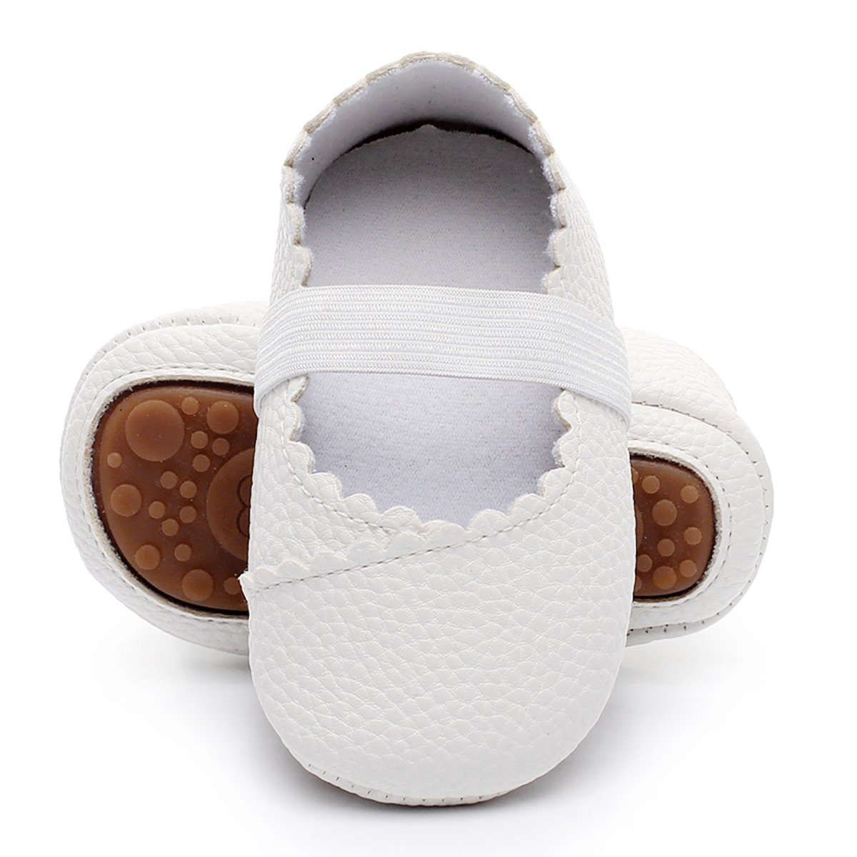 HONGTEYA Girls Dance Ballet Mary Jane Flats Shoes Print Rubber Sole Bottom Baby Moccasins Sandals(0-6M/4.33inch, White)