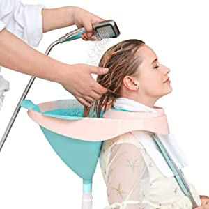 Defuomu Portable Hair Shampoo Basin, Hair Washing Sink with Strap and Removable Drain Tube for Pregnant, Elderly