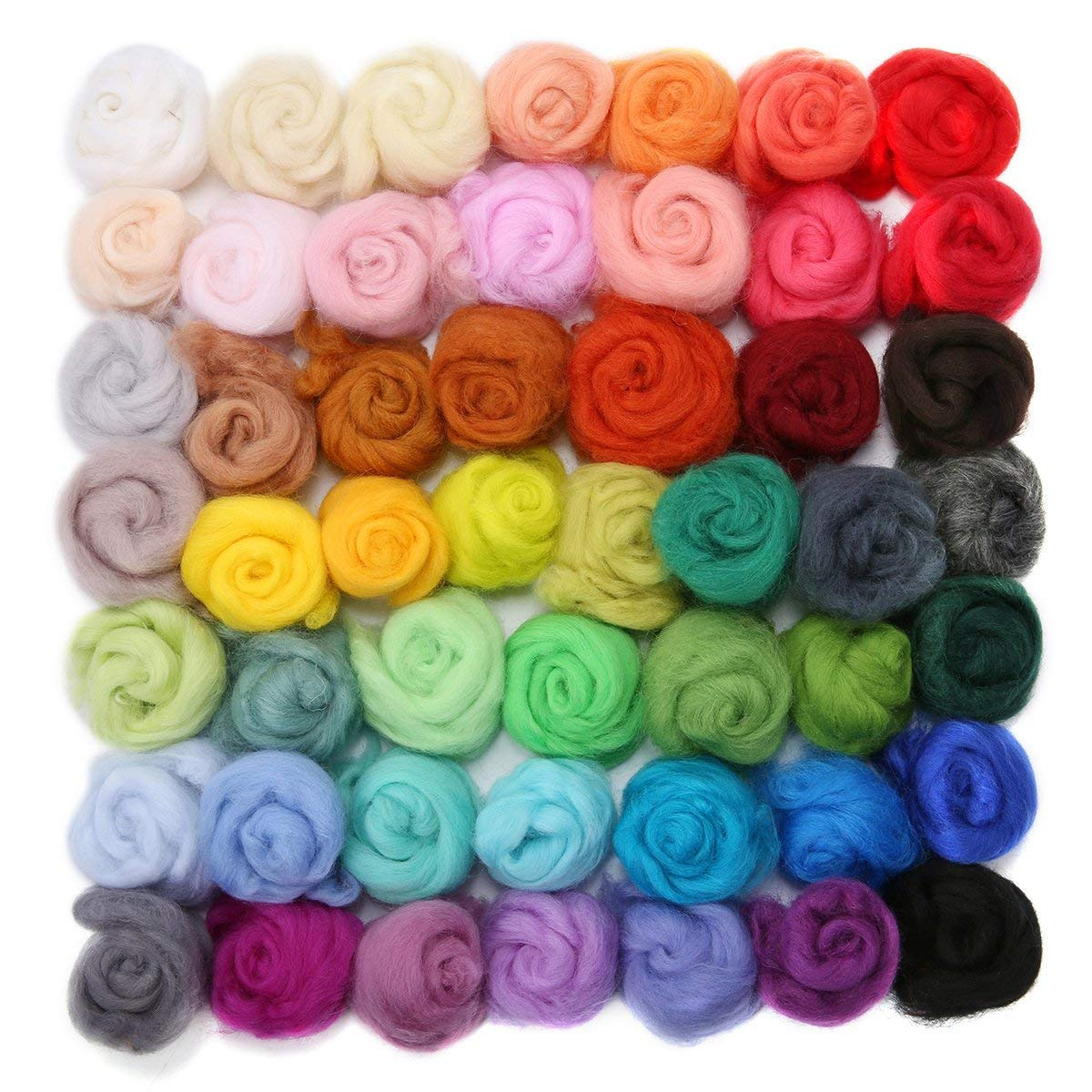 WOWOSS 50 Colours Wool Roving Felting Wool Fibre Yarn Roving for Needle Felting Hand Spinning DIY Craft Materials
