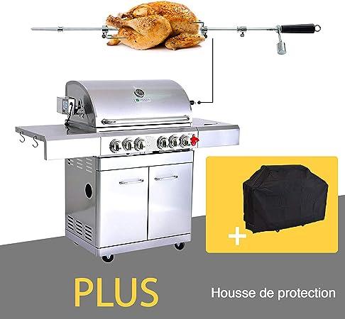 GREADEN BBQ Grill Barbecue À Gaz INOX PHÉNIX 4 BRÛLEURS+1
