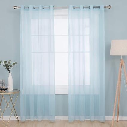 Deconovo 8er Set Vorhang Transparente Gardinen Wohnzimmer Schlafzimmer  Ösenvorhang Modern 8x8 cm Himmelblau