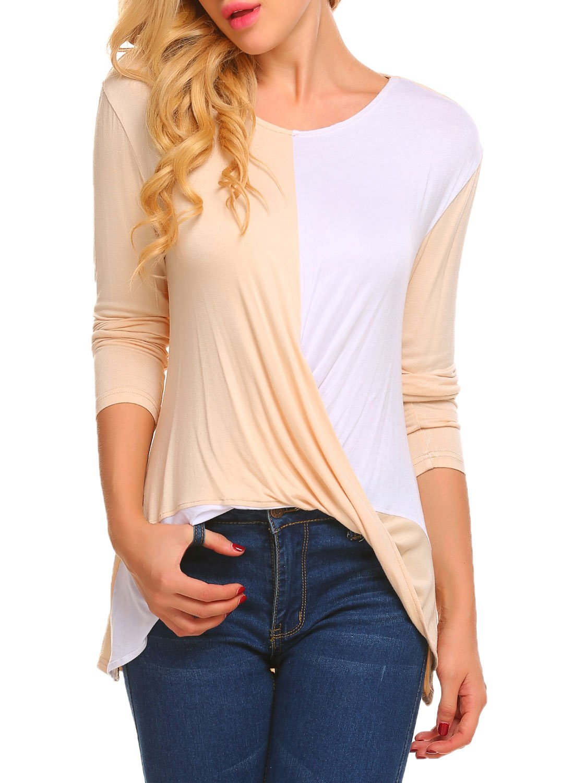 UNibelle Women's Long Sleeve Wrap Front Color Block Ruched T-Shirt Top Blouse