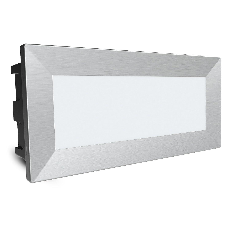 4 pezzi SSC-LUXon/® lampada da parete LED Piko-L grande faretto da incasso a parete con protezione IP65 per esterno 230 V 3,5 W bianco caldo