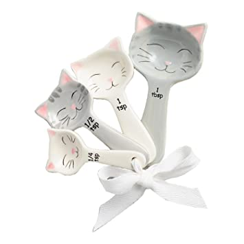Cat Shaped Ceramic Measuring Spoons   White And Gray