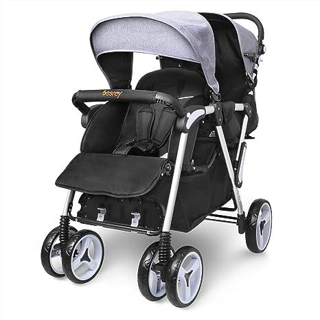 Besrey Silla de paseo gemelar cochecito doble sillas de paseo para 2 niños de 6 meses