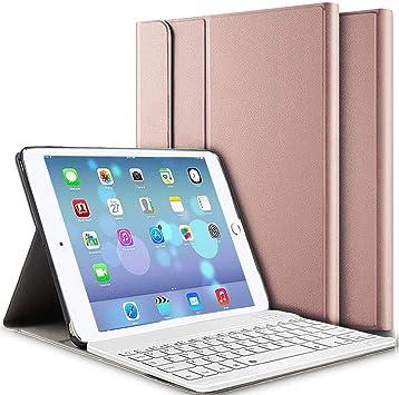 Funda teclado para iPad, teclado inalámbrico Bluetooth Funda para iPad 9.7