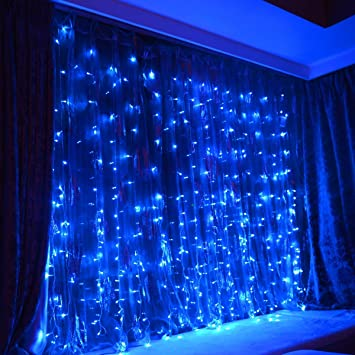FefeLightup BLUE Led Party Lights 9.8ft9.8ft 304 LEDs Lights Decorating  Holiday Wedding Curtain
