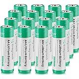 AA Lithium Battery 16 Pack, Enegitech 3000mAh 1.5V Double A Long-lasing Li-Iron Battery Non-Rechargeable for Flashlight Solar