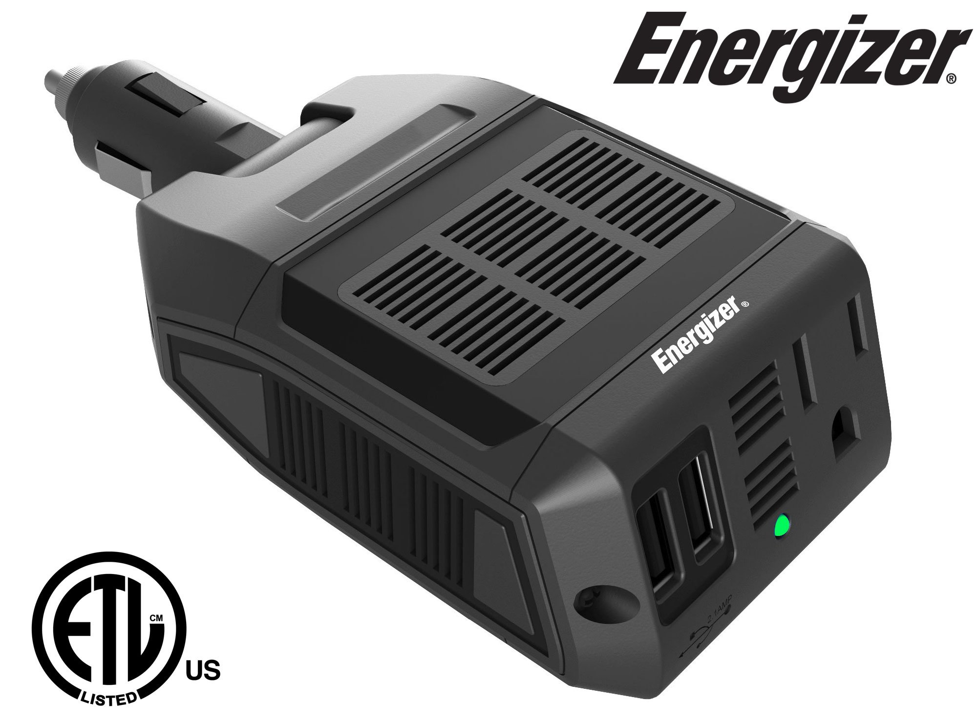 Energizer 100 Watts Power Inverter, Modified Sine Wave Car 12V To 110V Inverter, DC To AC Converter With Two USB Charging Ports (2.1A), Ultra-Silent – ETL Approved