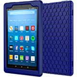 MoKo Case for All-New Amazon Fire HD 8 Tablet (7th and 8th Gen, 2017 and 2018 Release) - [Honey Comb Series] Light Weight Shock Proof Soft Silicone Back Cover [Kids Friendly] for Fire HD 8, Navy Blue
