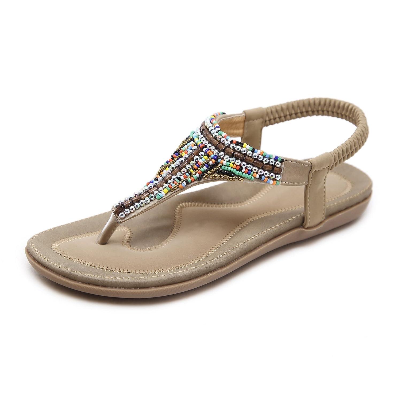 Damen Sommer Sandalen Strass Böhmen Strand Clip Toe Niedrigem Absatz T-Strap Schuhe, Aprikose, 42