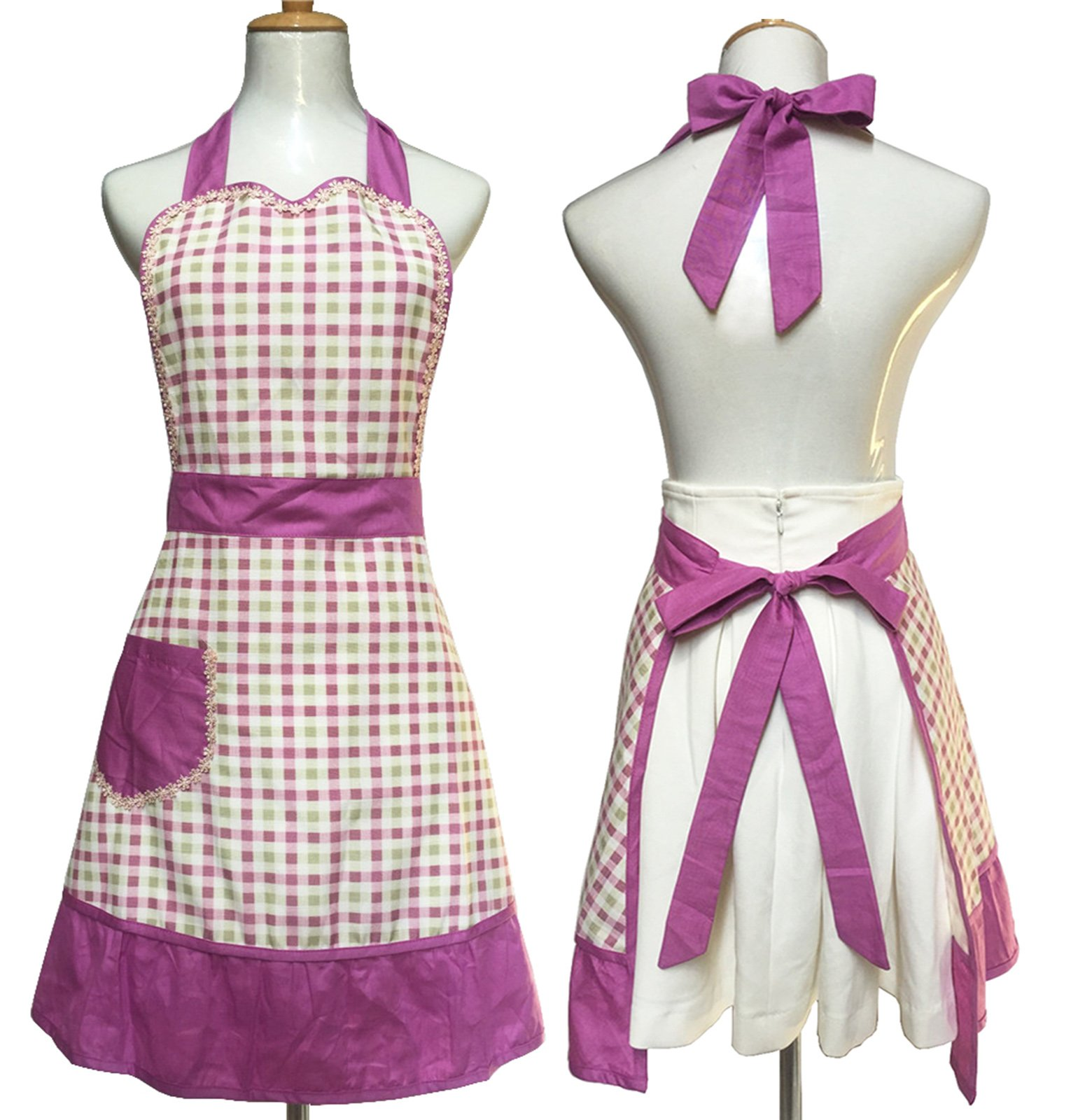 Lovely Sweetheart Retro Kitchen Aprons Woman Girl Cotton Cooking Salon Pinafore Vintage Apron Dress with Pocket,Purple