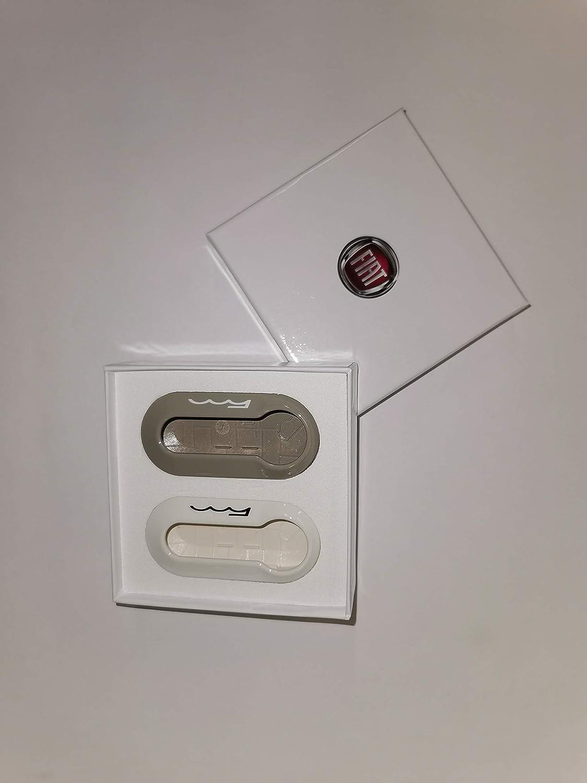 2 X Original Fiat 500 Schlüssel Abdeckungen In Weiß Und Silber Glänzend Mit Fiat Logo Auto