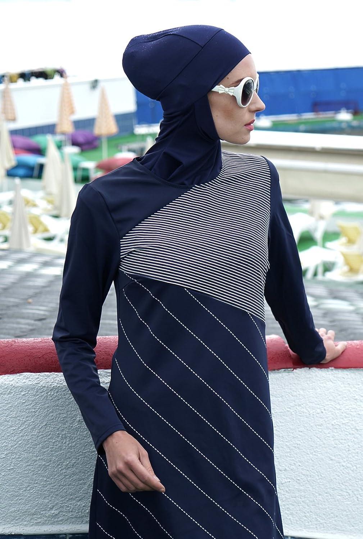 Hasema Damen Badeanzug, moderner Moslem Full Cover Badebekleidung, Langarm Burkini bedeckt bescheiden und Modern, Schutz vor Sonne - auch Übergrößen