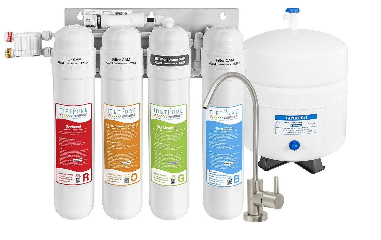 METPURE Reverse Osmosis Water Filtration System - 4 Stage RO Water Filter System With Faucet | Under Sink Water Purifier For Clean Drinking Water With Quick Twist Filters & A Simple Set Up - 50 GPD