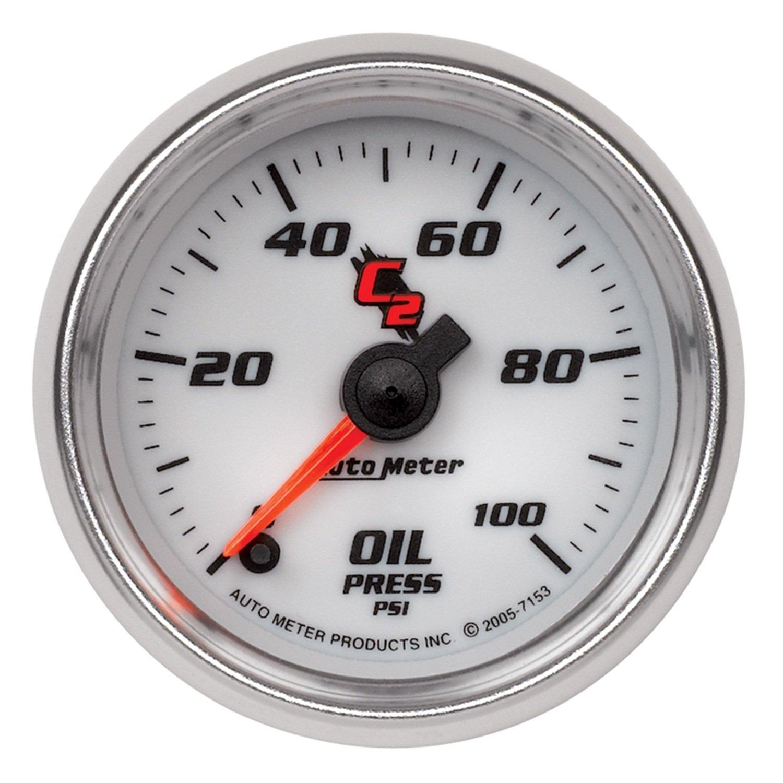 Auto Meter 7153 C2 2-1/16'' 0-100 PSI Full Sweep Electric Oil Pressure Gauge