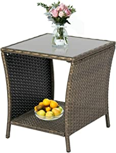 KINTNESS Wicker Rattan Side Table Outdoor End Table Patio Courtyard Coffee Bistro Glass Table with Storage