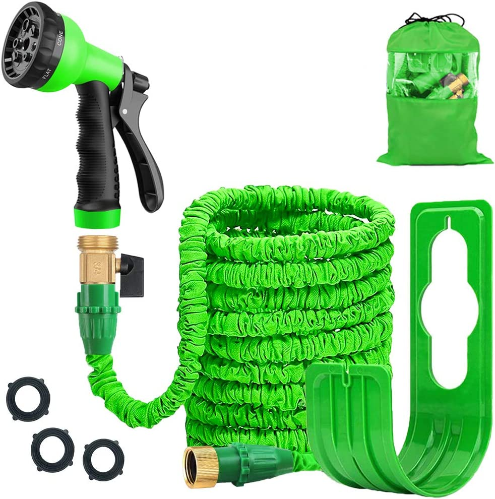 Expandable 100FT Garden Hose Pipe - Lightweight, Durable& Felxible - 8 Function Spray Gun/Hose Hanger/Storage Bag/Brass Fittings for Lawn/Pet/Car/Boat Wash (100ft green)