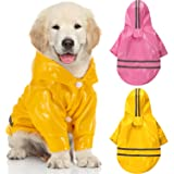 2 Pieces Pet Dog Raincoat Dog Waterproof Rain Coats Puppy Lightweight Rain Jacket Pet Breathable Hooded Poncho with…