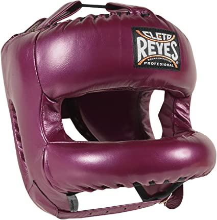 Cleto Reyes Redesigned Leather Boxing Headgear with Nylon Face Bar Black