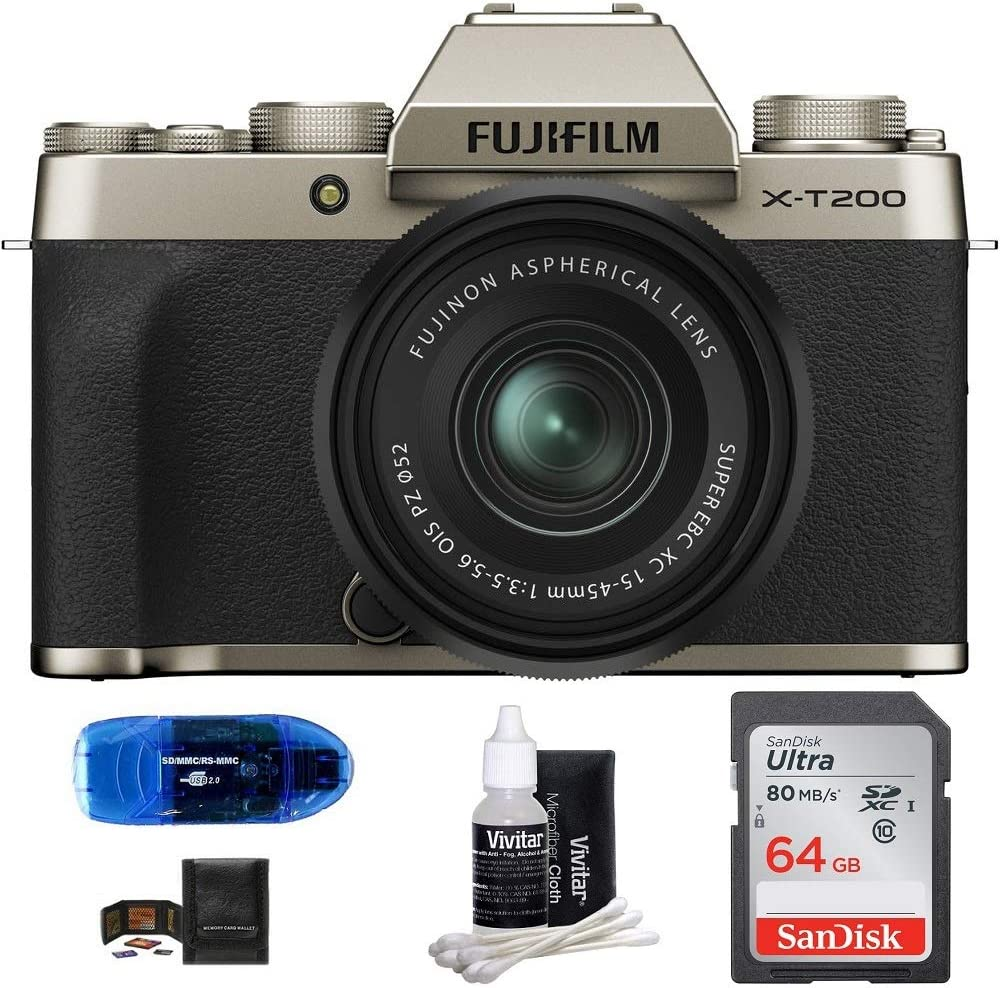 Fujifilm X-T200 Mirrorless Digital Camera with 15-45mm Lens Bundle: Includes, SanDisk 64GB SDXC Memory Card, Card Reader, Memory Card Wallet and Lens Cleaning Kit (5 Items) (Champagne Gold)